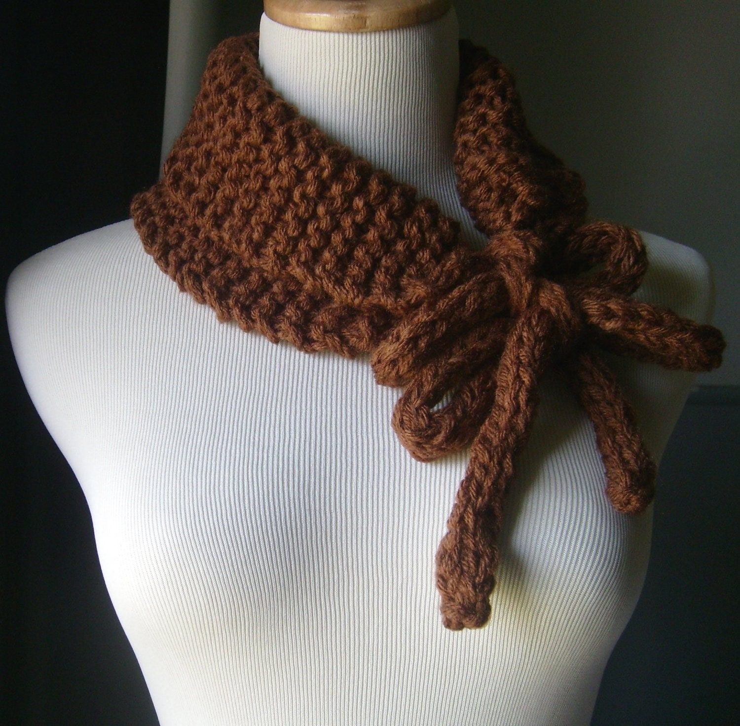THE CHOCLEE - Knit Cowl/Neckwarmer - Soft and Snuggly In CHOCOLATE BROWN