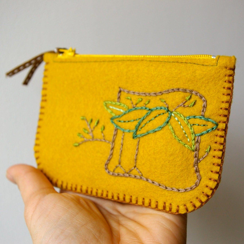 An Old Friend: Handmade Wool Felt Coin Purse