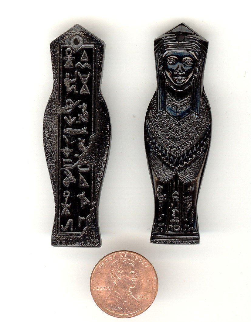 "1 Vintage Czech Jet Black EGYPTIAN  MUMMY Ornately Pressed Glass Figural Pendant W/Hieroglyphics On Back. 2-1/2""  No.R21 - BonkersForBeads"