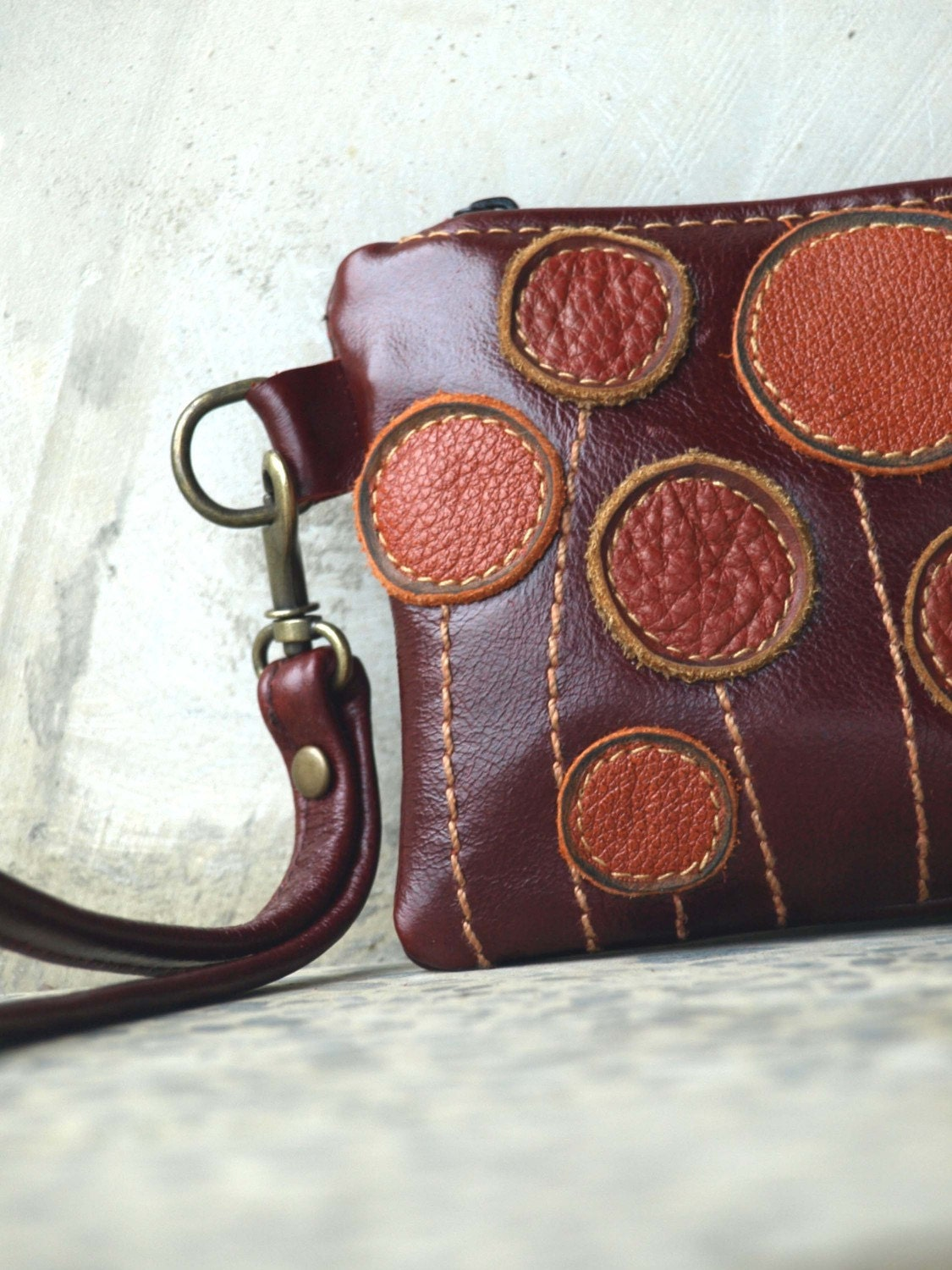 Caramel Pods in Wine Red Wristlet