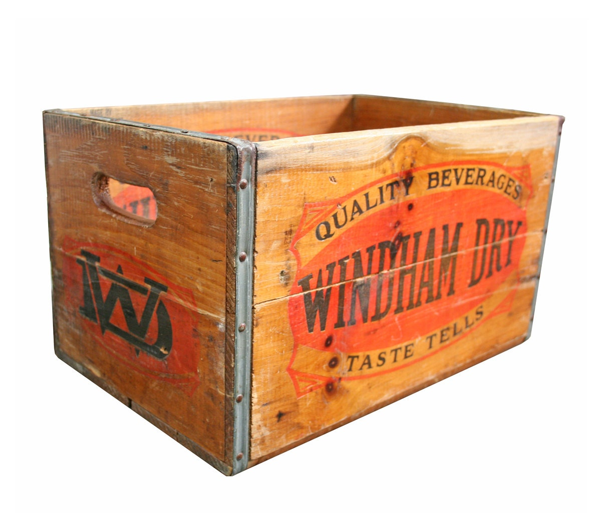 Vintage Industrial Wood Crate -- Windham Dry Beverage Crate