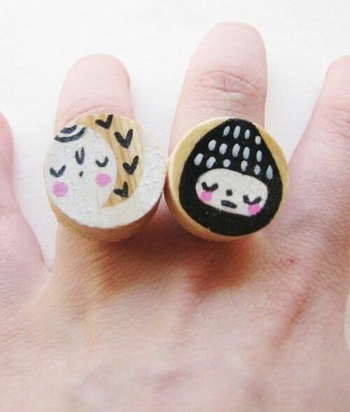 Sleepy Elf Hand painted wooden adjustable ring