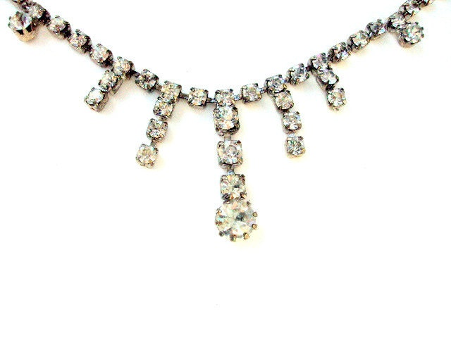 Vintage, Rhinestone Choker Necklace, Clear Stones, Cr. 1920, Estate, Drop Design, Sparkle  I Take CREDIT CARDS