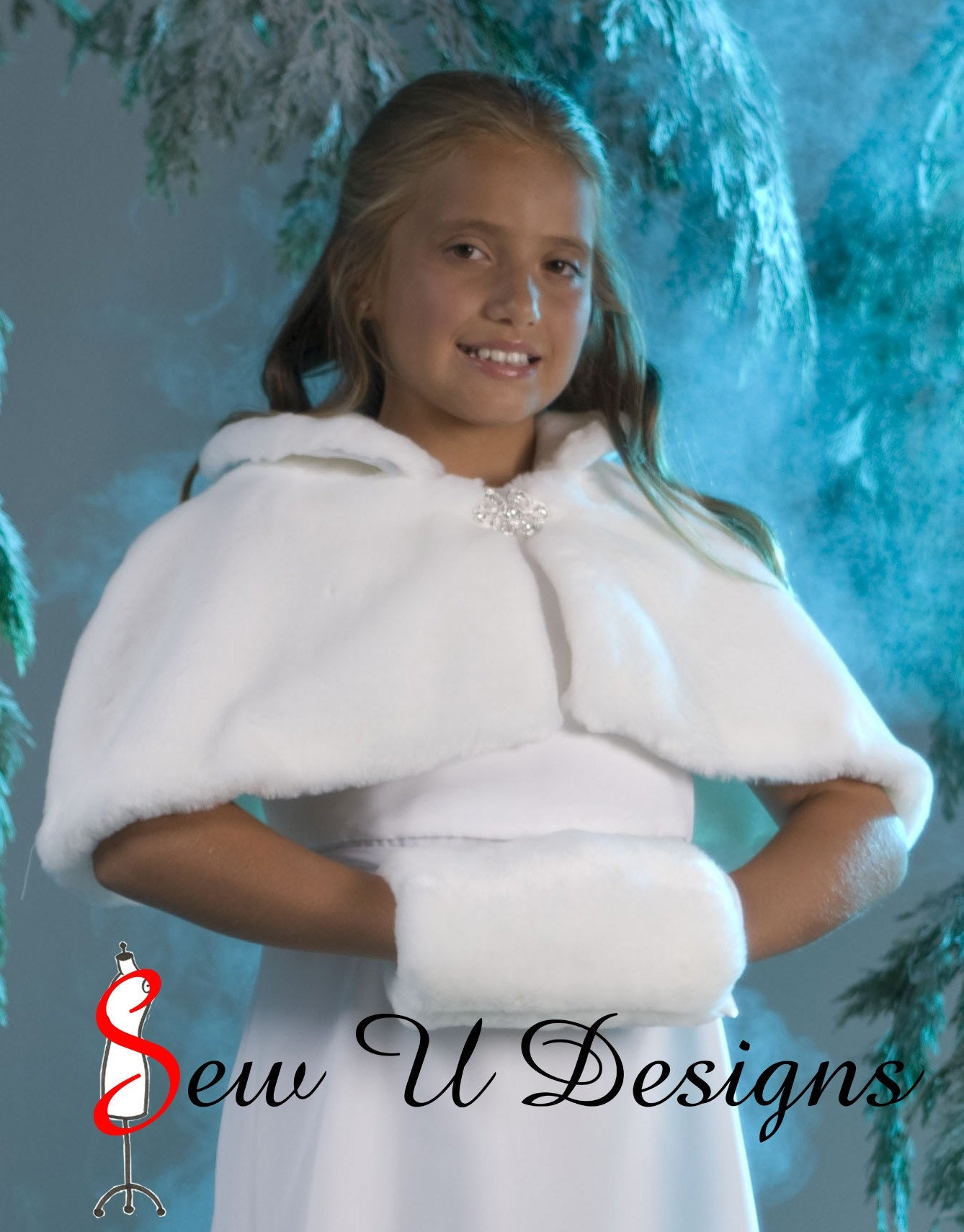 Faux fur Winter Wedding Cape capelet with matching muff for Flower Girl Jr Bridesmaid
