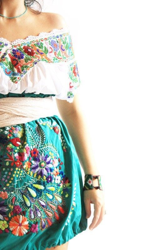 Mexican skirt hand embroidered bubble bohemian by aidacoronado
