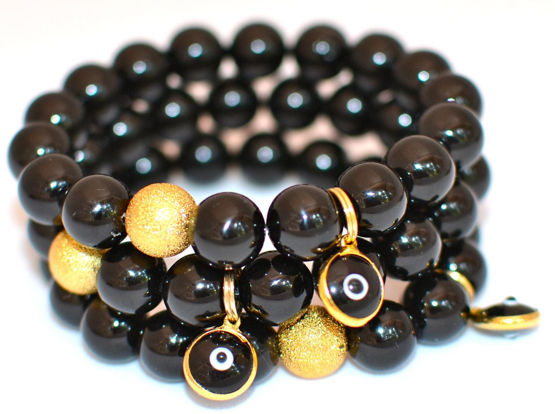 black onyx semi precious gemstone beaded by waitingonmartha