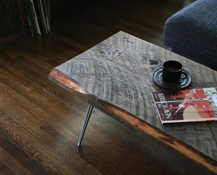 industrial ruffcut coffee table from reclaimed old growth fir and steel hairpin legs - birdloft
