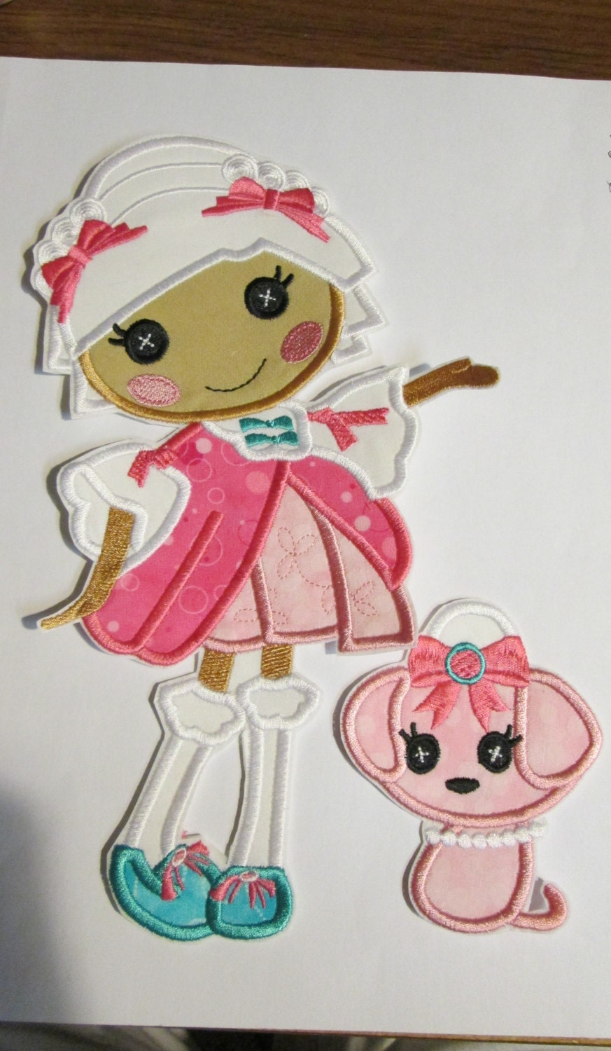 iron on applique french doll with puppy by bigblackdogdesigns. Black Bedroom Furniture Sets. Home Design Ideas