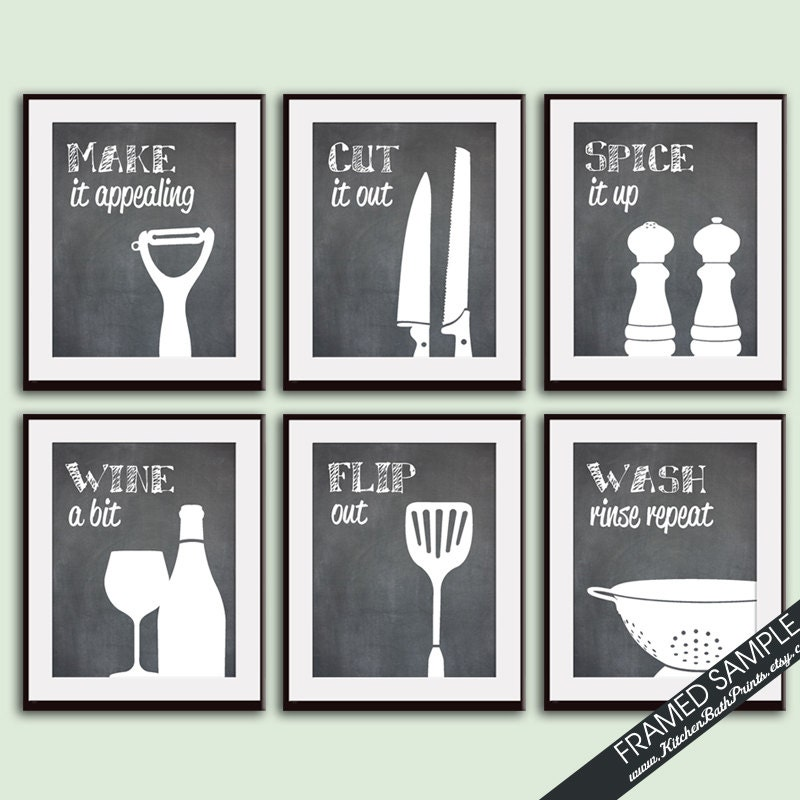 Funny kitchen art print set whisk grater by kitchenbathprints for Funny kitchen set