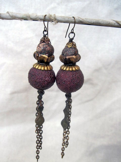 All Creatures are Immortal. Vintage Tribal Shoulder Duster Earrings.