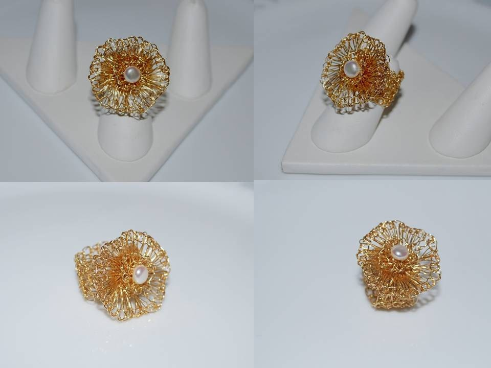 Crochet Wire Flower Ring Pearl on Wire Flower by MyasCreations