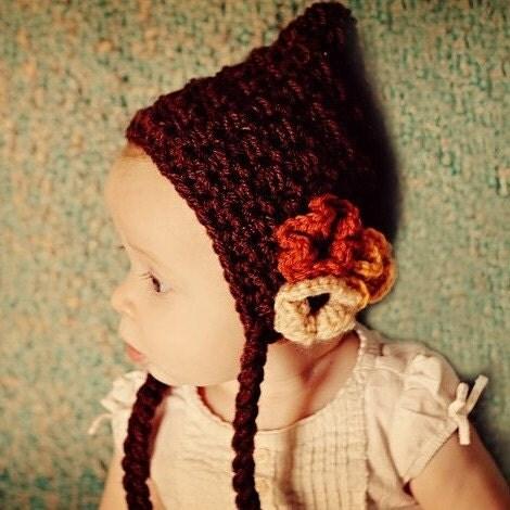 Вязаный Причудливая Pixie Бонне Gnome Худа Hat с цветами