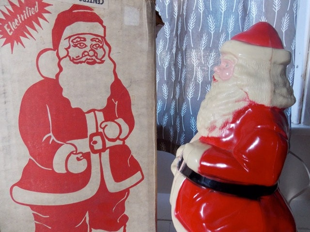 Electrified santa claus light up stand by greendigsvintage