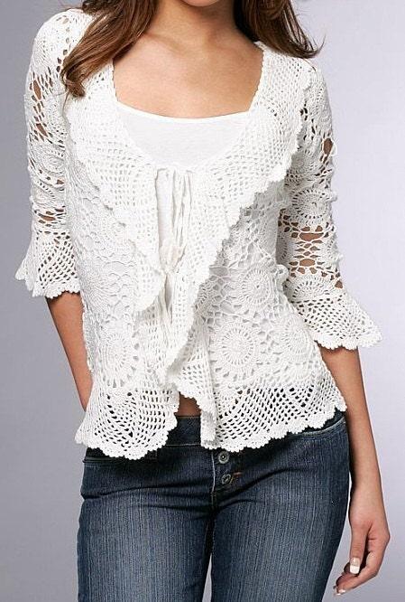 Lace top blouse jacket crochet handmade custom made