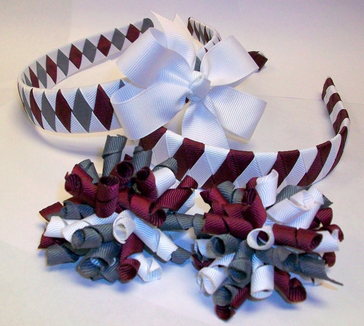 SCHOOL SPIRIT Hair Accessory Bundle-- 2 Headbands and 3 Bows--You choose up to 3 School colors or Uniform Colors