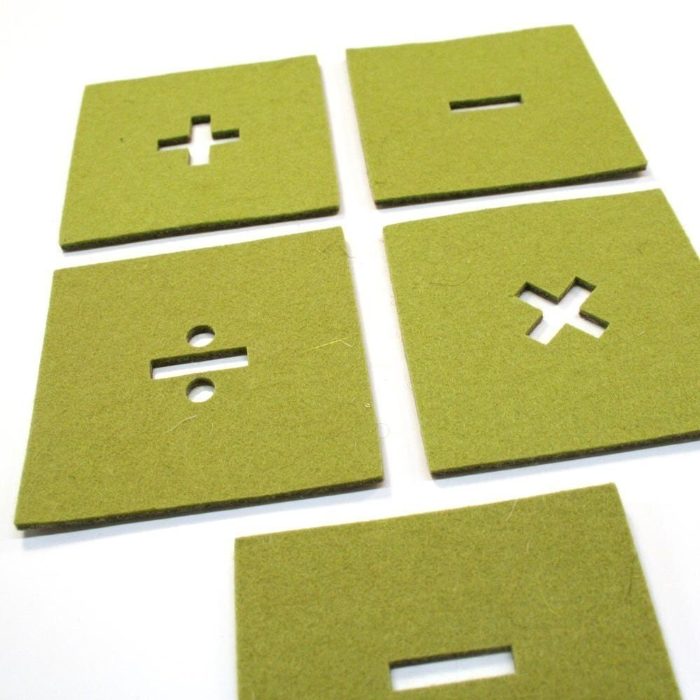 Math Signs Coaster Set - Green/Grey