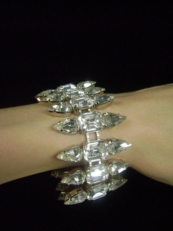 Rhinestone Bracelet / Foil Back Glass / Prong Set / 1980s / NOS /  Bridal Bracelet / Butler & Wilson - iandrummondvintage