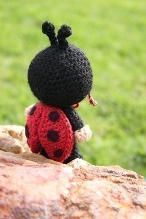 Crochet Pattern- Laura Beth dressed as a ladybird amigurumi doll