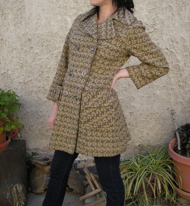 Vintage 70s Boucle Double Breasted Wool Coat XS/S - RumseyVintage