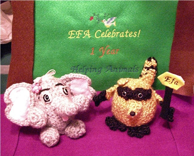 Embroidered Sign EFA CELEBRATES with Crochet Animals FREE SHIPPING