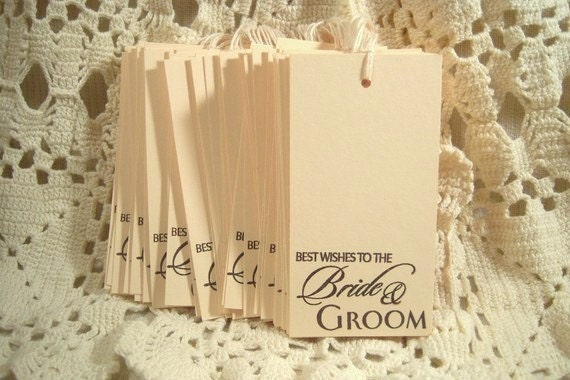Set of 50 Wedding Best Wishes to the Bride and Groom Stamped Hang tags