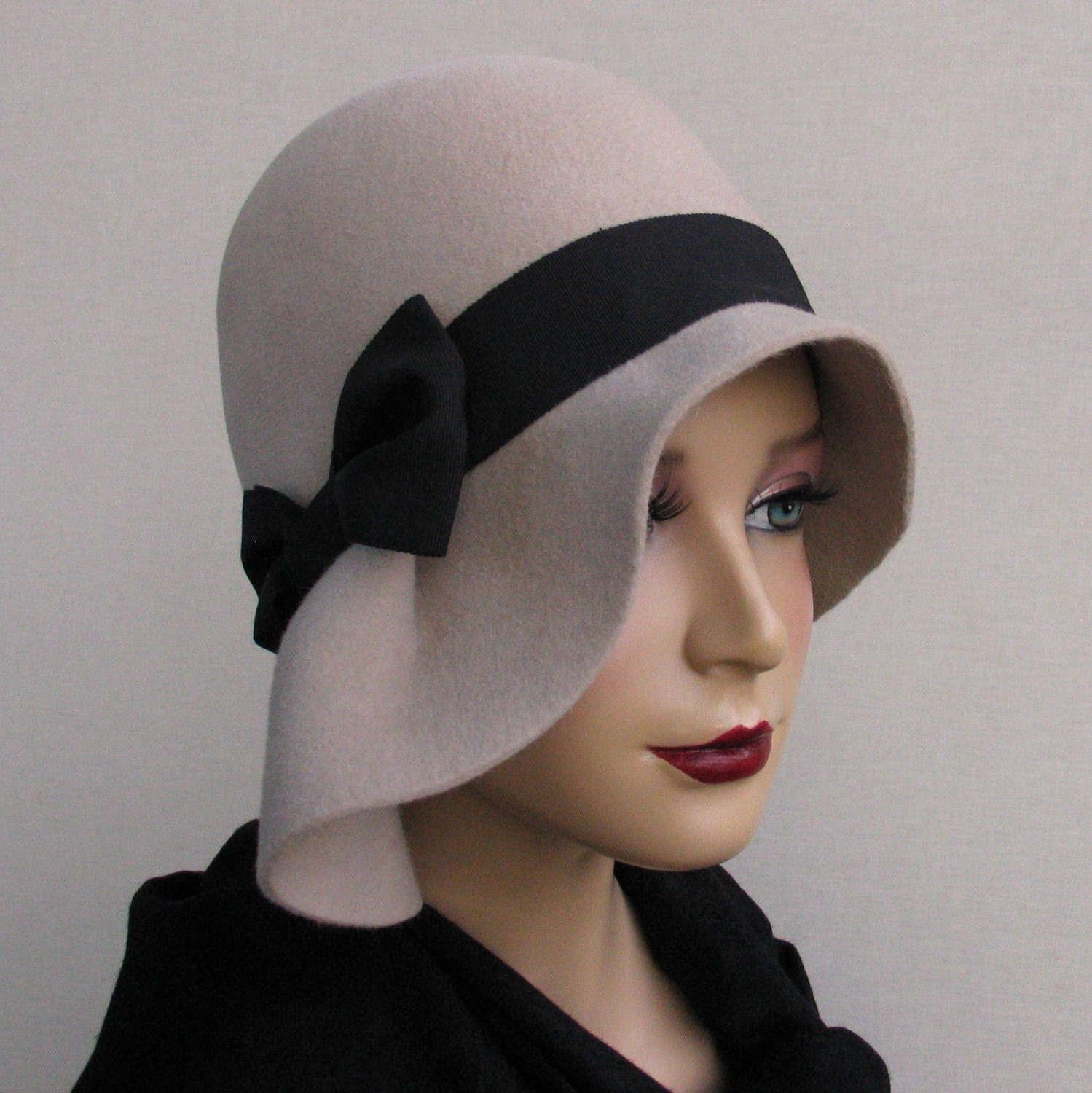 grey wool cloche hat by katarinahats on etsy