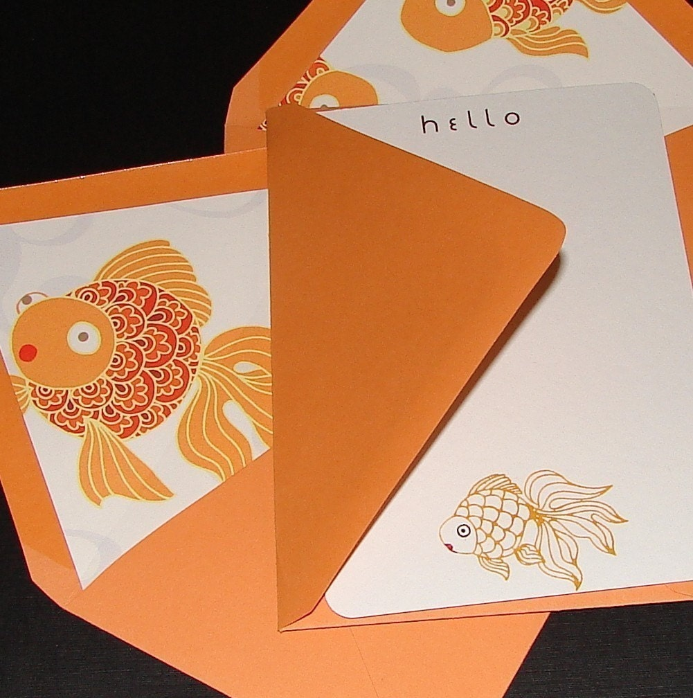Poppy Goldfish Flat Notecards - Set (8)