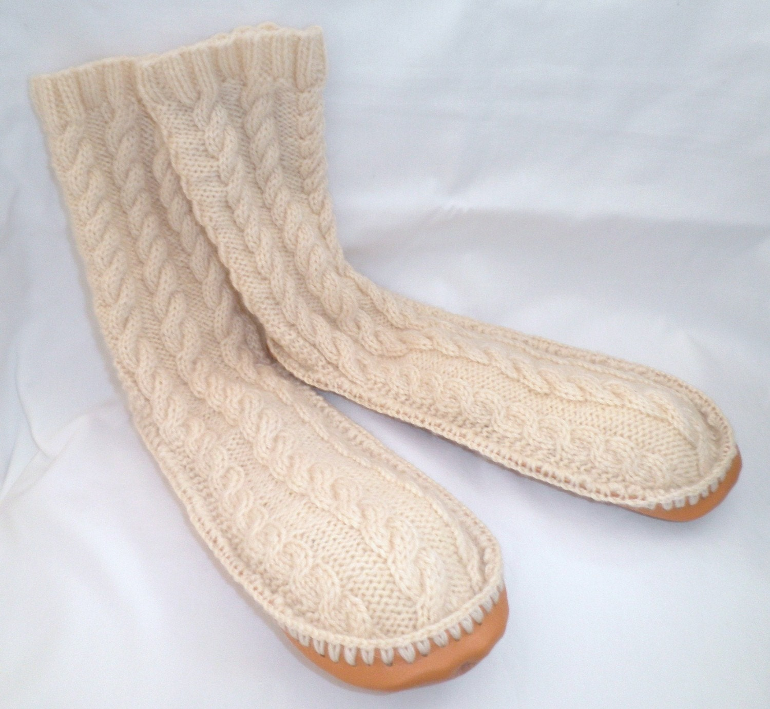 Knitting Patterns For Slippers With Leather Soles : Adult Hand Knit Cream wool Slipper Socks Leather by nanaswoolies