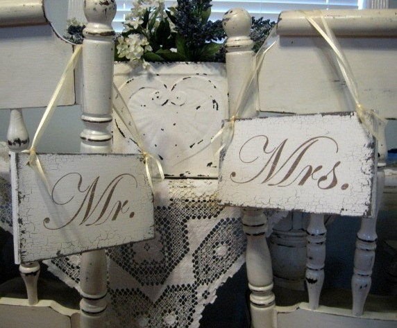 MR / MRS 9 x 5 Chair Signs VISIT MY STORE FOR OVER 80 DIFFERENT WEDDING SIGNS
