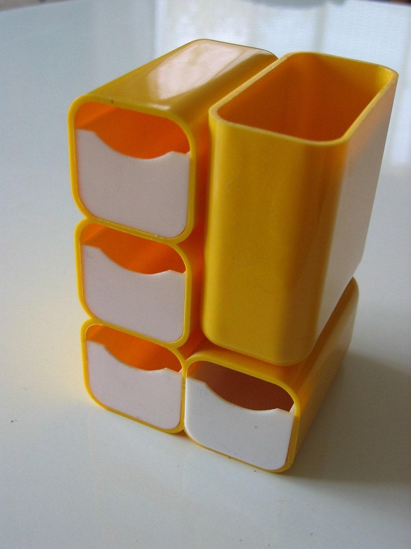 Groovy 70's Vintage Plastic trinket box or desk organizer.  YELLOW.  Kartell, Panton era.