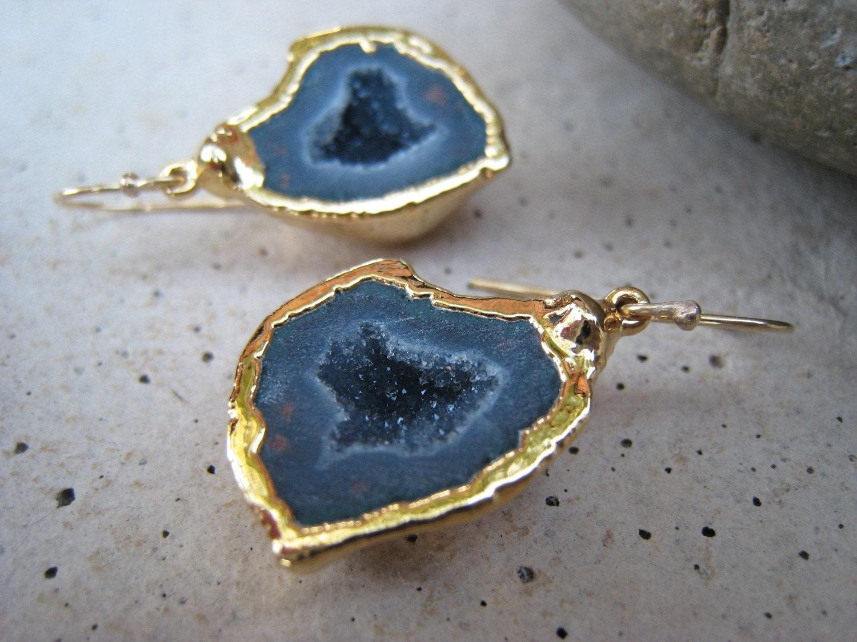 24K Gold-Encased Blue Gray Geode Earrings