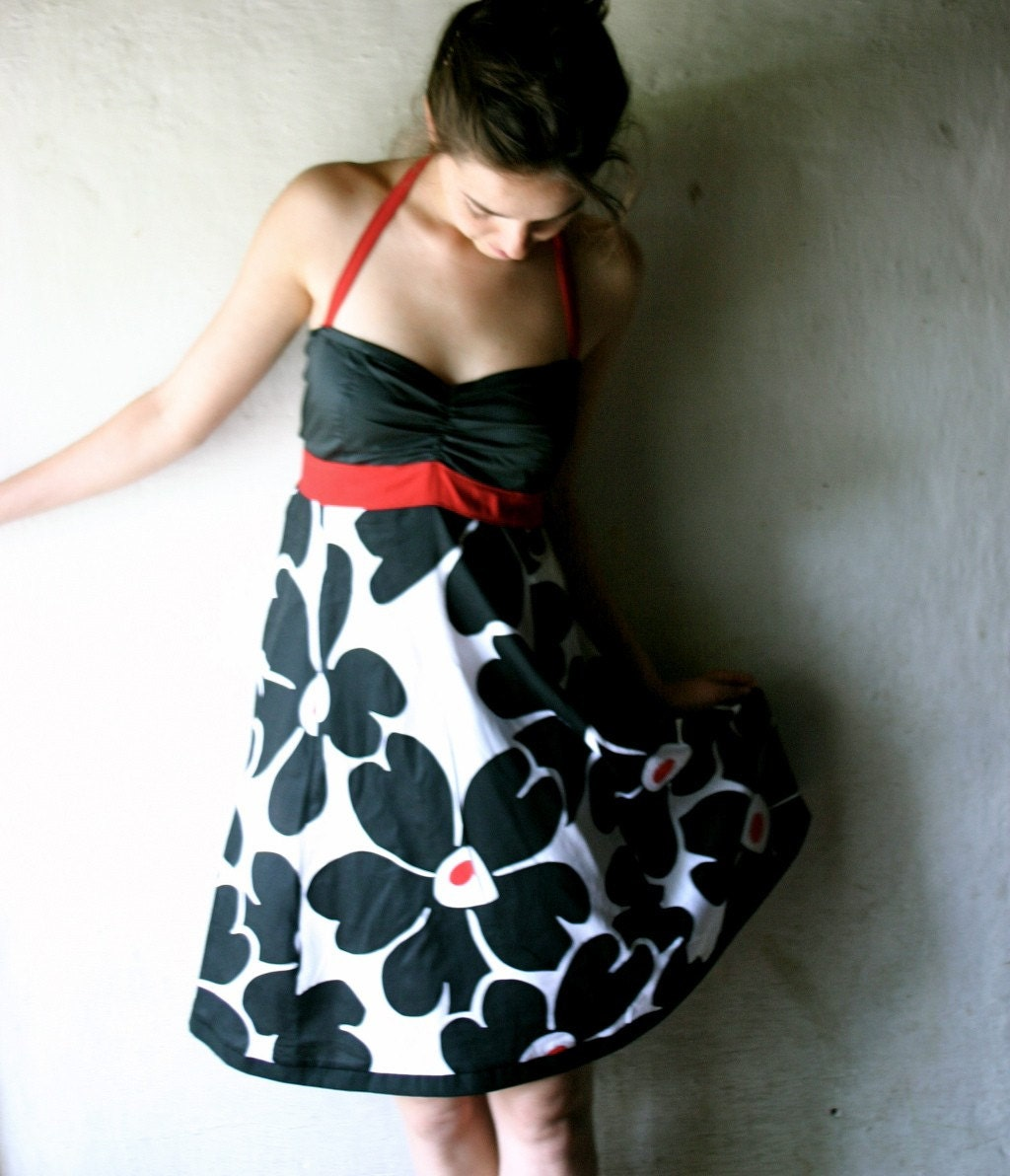 Black-Red-White Halter dress