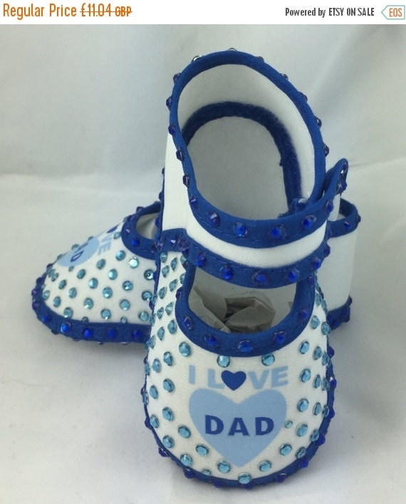 ON SALE Cotton Newborn Baby Infant I love Dad Embellished crib shoes Special Occasion  Pageant Wear Baby Shower Baptism Wedding