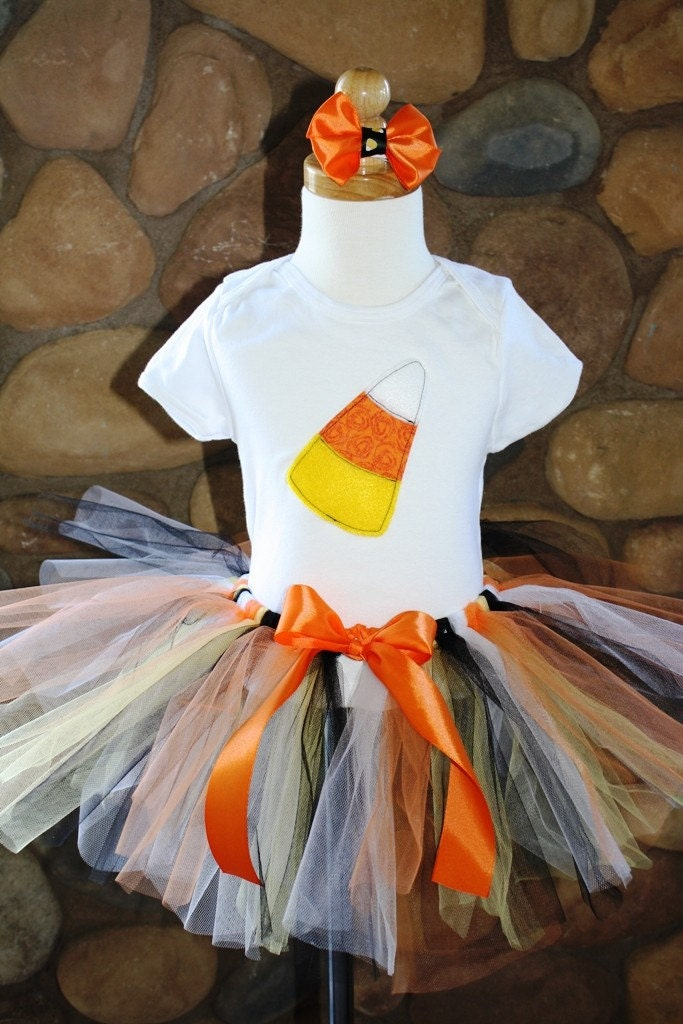Halloween Costume Candy Corn Shirt and Candy Corn Colored Tutu  with matching Orange Bow