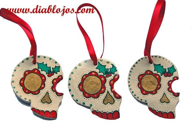 Items similar to mexican dia de los muertos tattoo sugar for Mexican christmas ornaments crafts