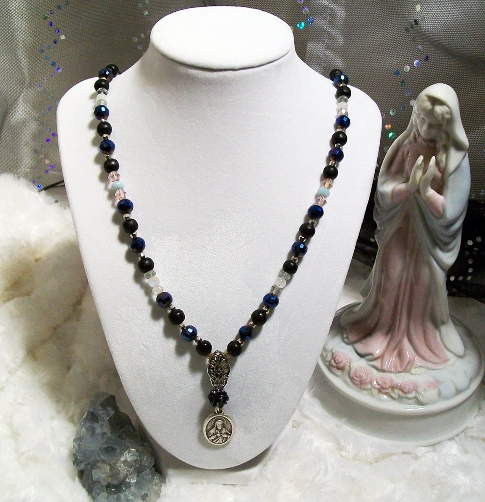 Sacred Heart of Jesus Rosary Prayer Bead Necklace