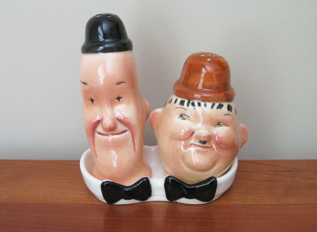 Vintage Laurel And Hardy Salt And Pepper Shakers By