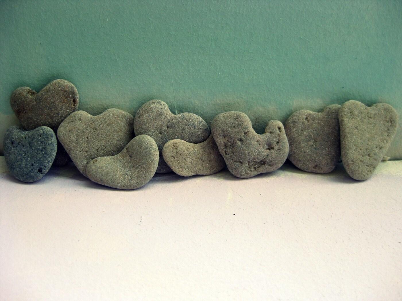SALE 20% OFF Beach Wedding Decor - 16 genuine  heart shaped beach stones