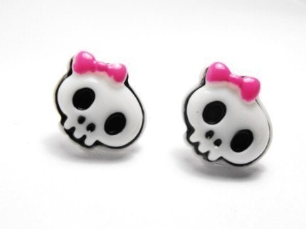 SUGAR  PUNK GIRLY SKULL EARRINGS.....available on post or clips