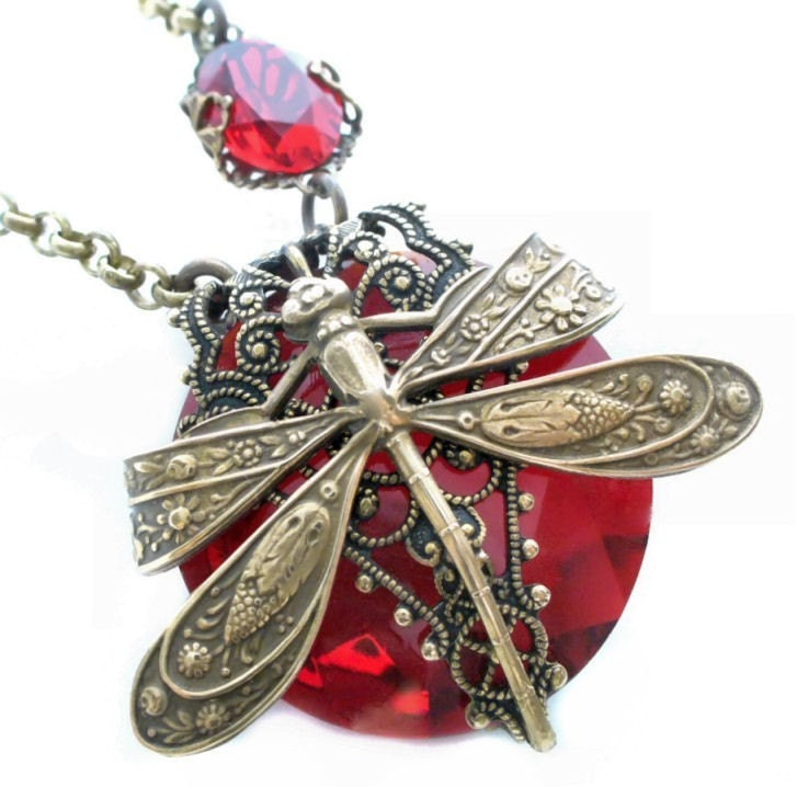 La Belle Epoque - Jeweled Dragonfly Art Necklace by Vintage Filigree Jewels