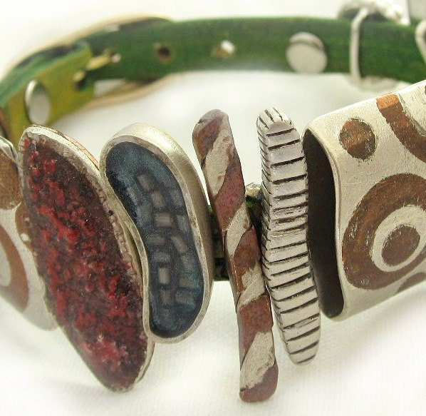 Metal and leather artistic handmade strap bracelet