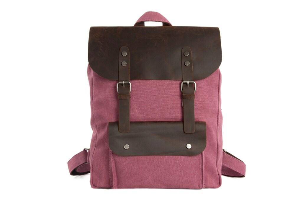 Women Handmade Leather Canvas Backpack School Backpack Hiking Travel Backpack