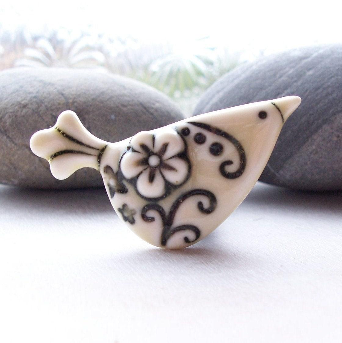 Brooch Porcelain Flower Design Bird Glazed Cream Yellow