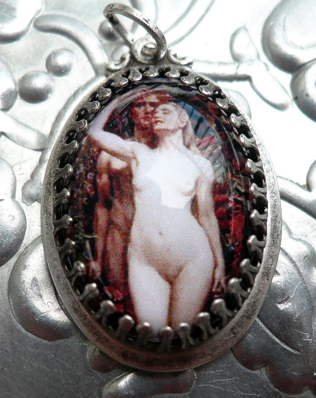 Adam and Eve...Captivating  Art Pendant with Chain..