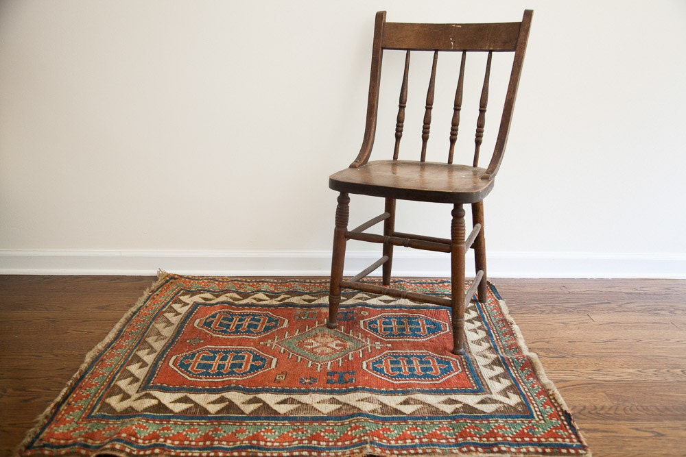 Square Vintage Tribal Rug - oldnewhouse