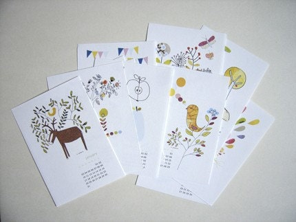 Pretty letterpress calendar, via Etsy: mademoiselleyo, USD$18