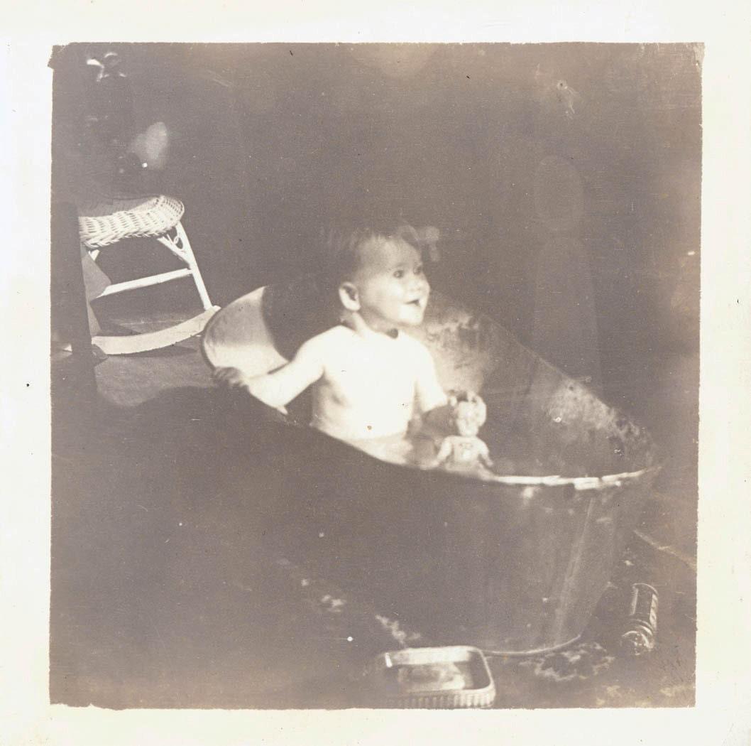vintage photo baby gets bath in metal tub by maclancy on etsy. Black Bedroom Furniture Sets. Home Design Ideas