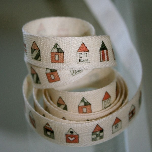 Teeny Red Houses Cotton Tape