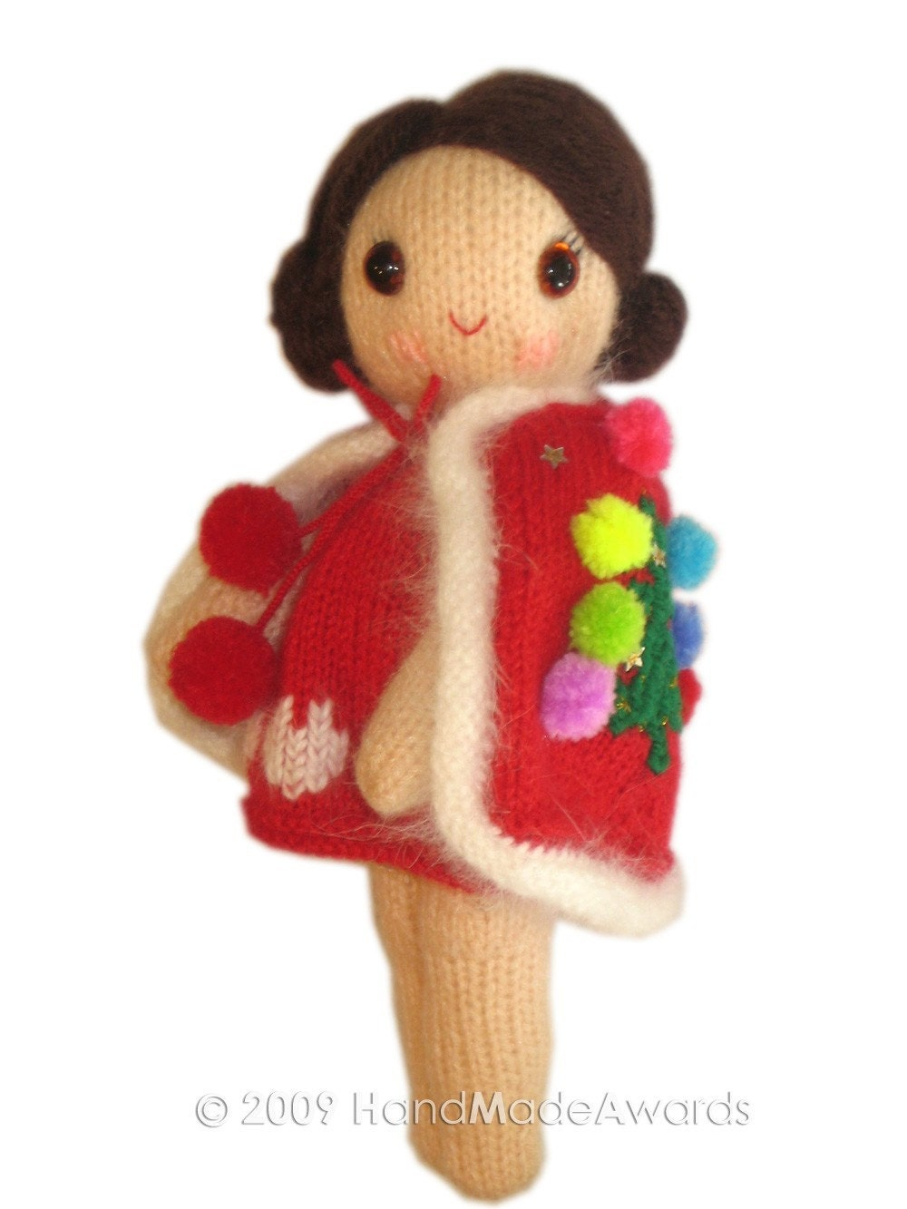 LOVELY CHRISTMAS girly DOLL pocket friend KNIT PATTERN pdf EMAIL by HandMadeAwards