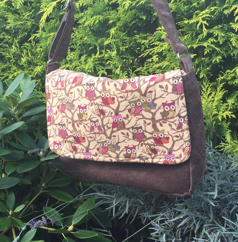 Julia Messenger BagHandbag Unique College Day Bag Work Bag Shoulder Bag Brown Faux Suede Owl Fabric Handmade in the UK